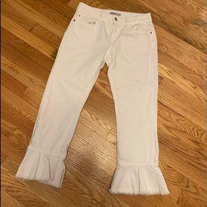 Zara White Flare Cropped Jeans